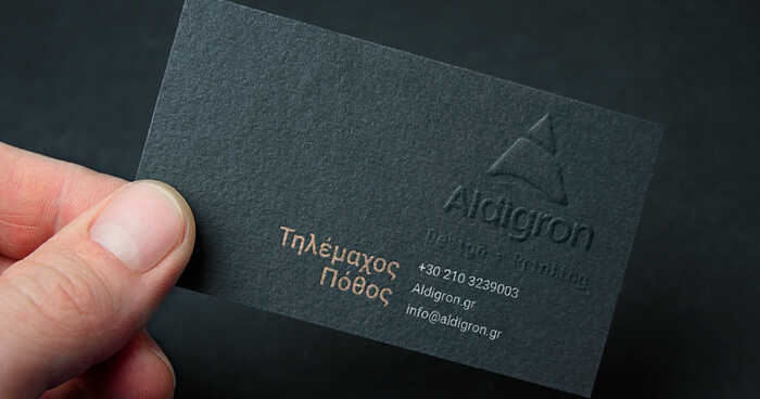 Printed embossed card on special paper